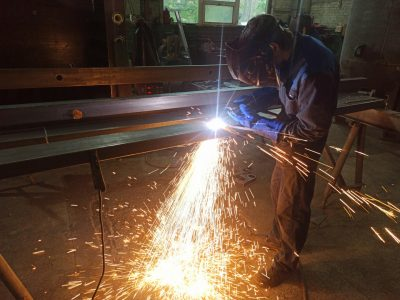 Сварка металлоконструкций установки печи обжиговой